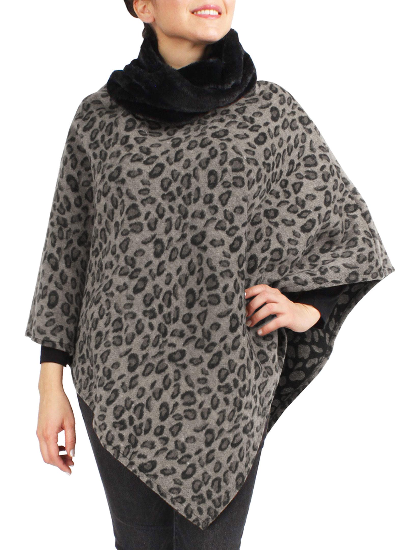 wholesale Poncho - Animal w/ Faux Fur Collar 9395 & 9396