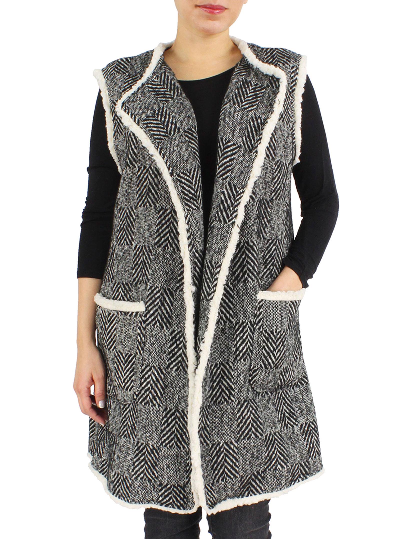 wholesale Vests - Herringbone w/ Fur Edge 9407