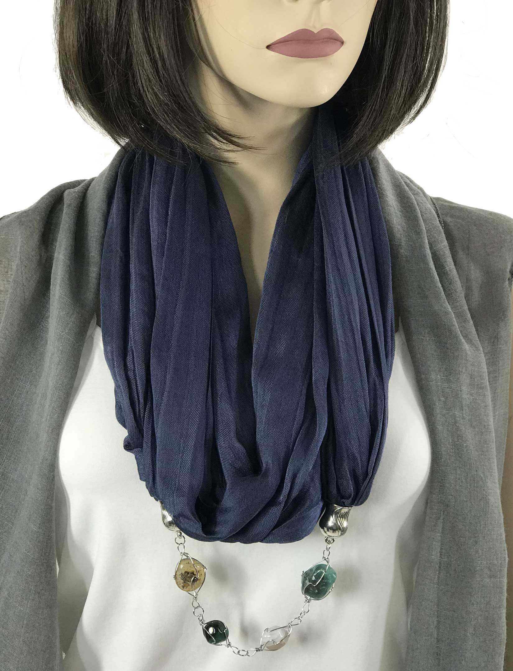 wholesale Jewelry Infinity Scarves - Cotton/Silk Blend 100