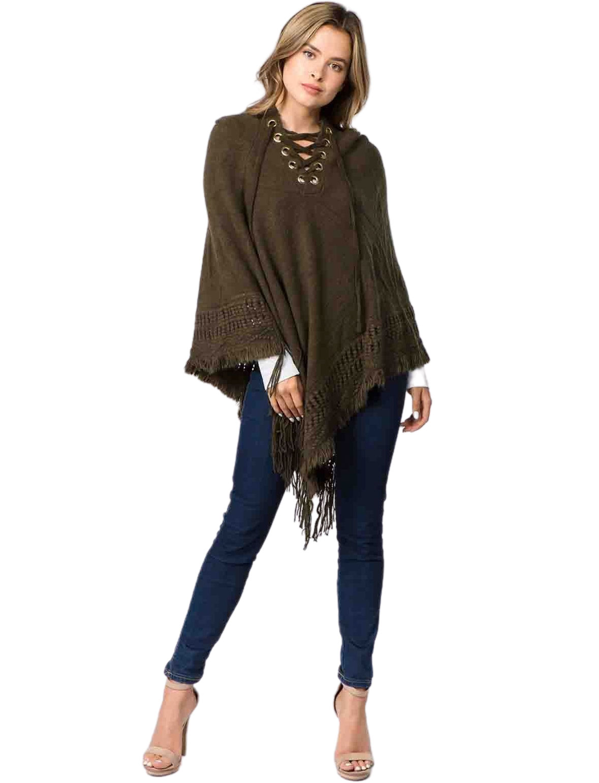 wholesale Hooded Poncho - Solid w/ Lace Up 90B7