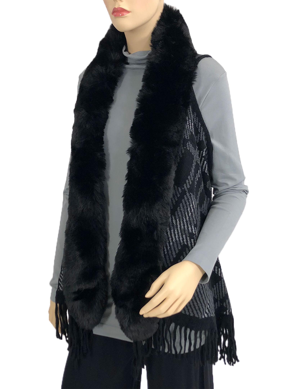 wholesale Vests - Plaid w/ Faux Rabbit Fur 96B7
