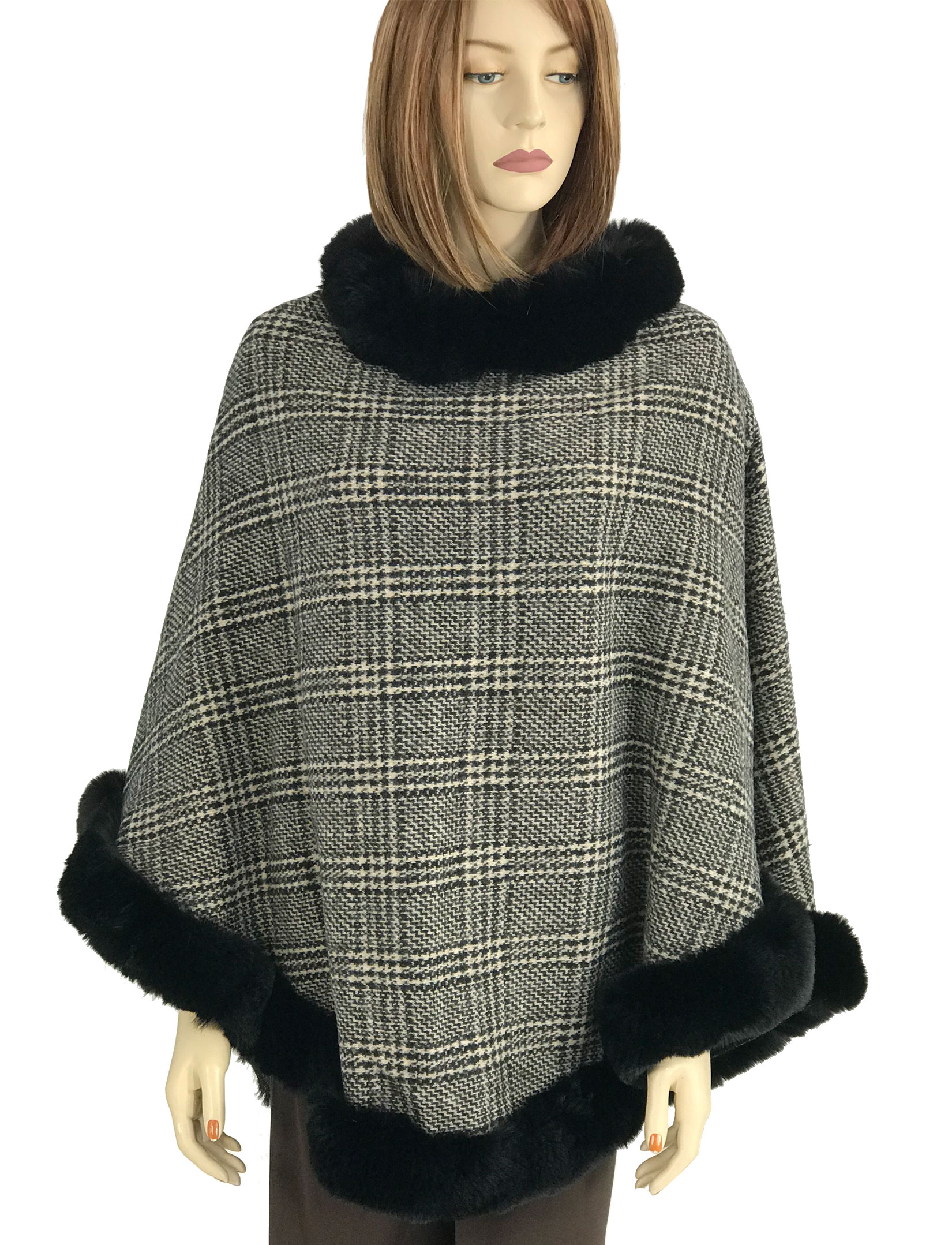 wholesale Poncho - Faux Rabbit Fur Trim LC12