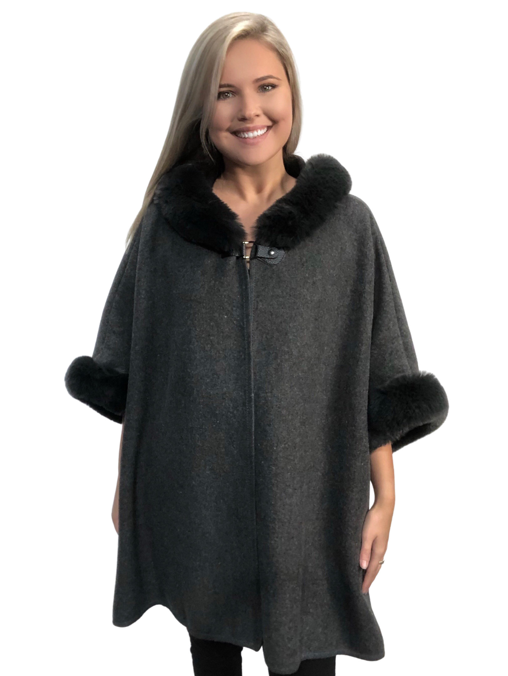 wholesale Cloaks - Hooded Faux Rabbit w/ Buckle Clasp LC14