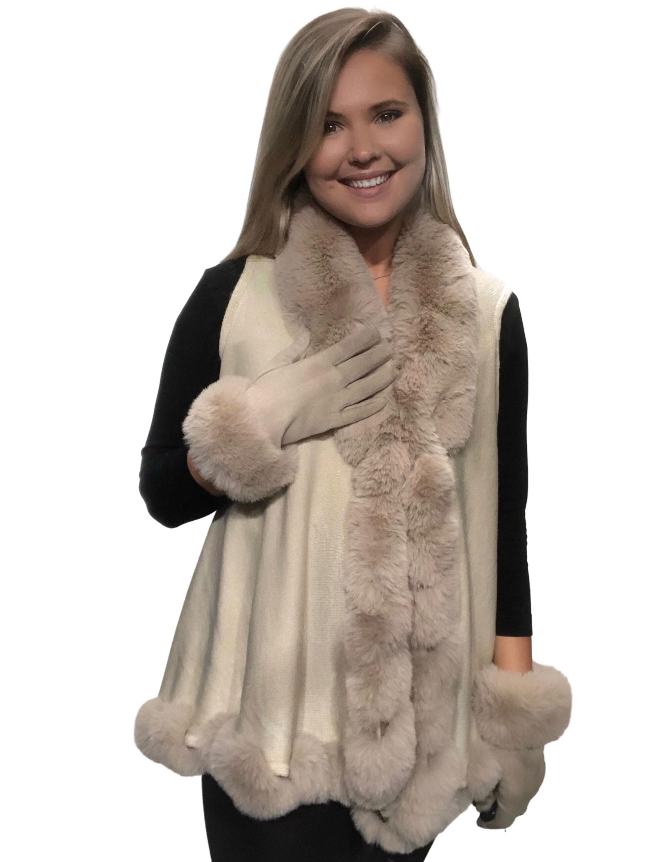 wholesale Vests - Faux Rabbit Fur Trim LC11