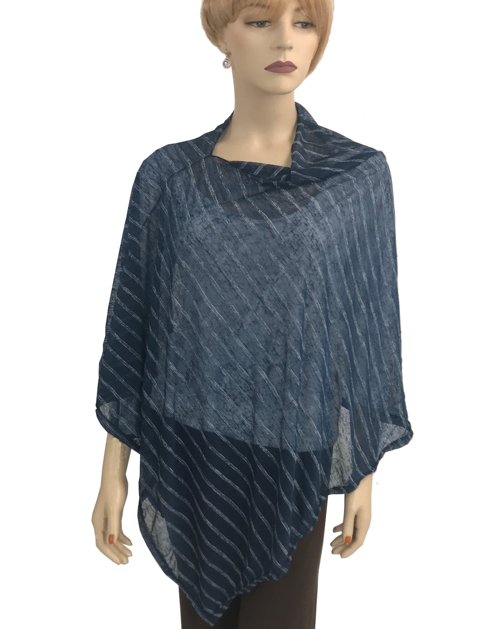 wholesale Poncho - Sheer Striped 9690