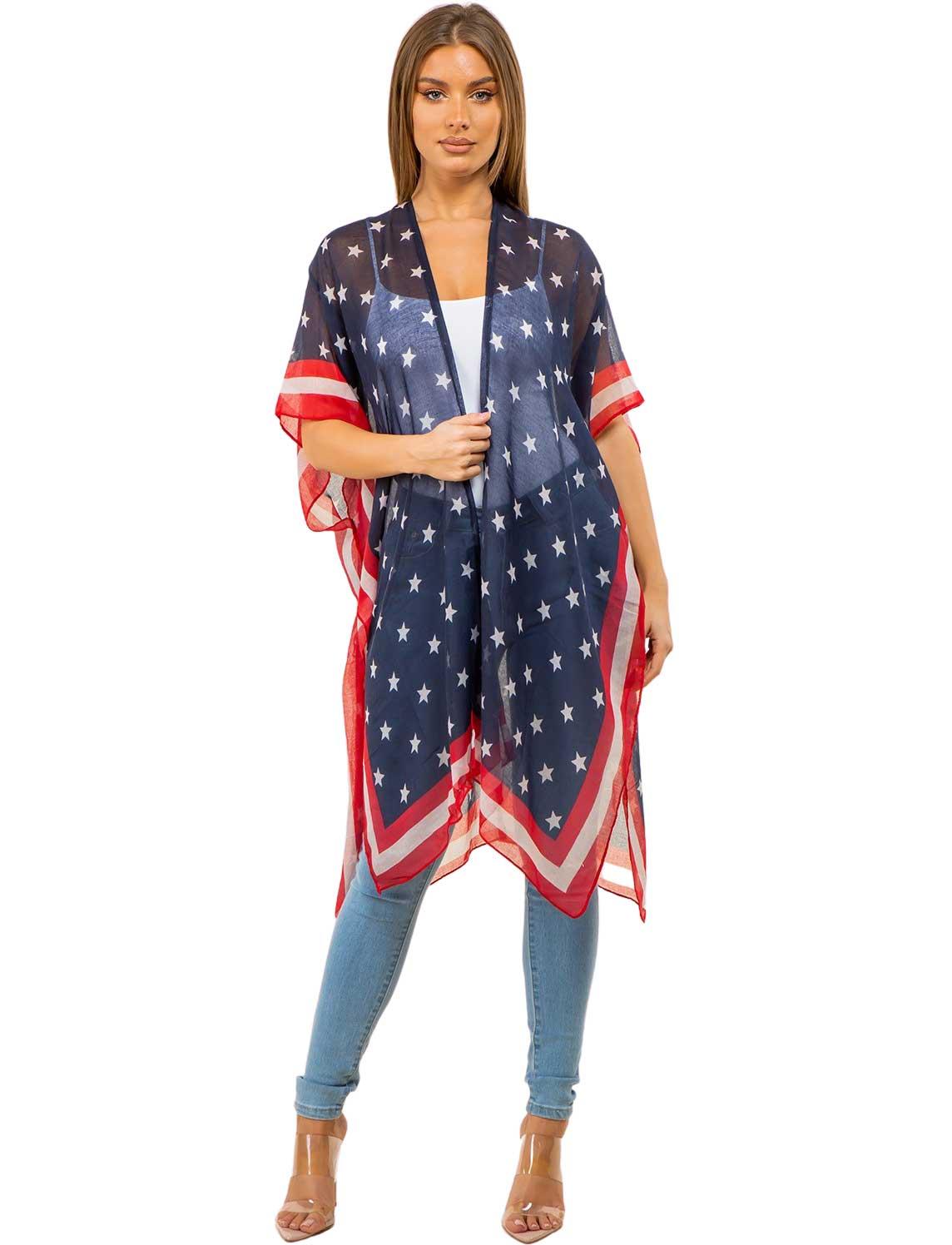 wholesale American Flag Kimono Vests