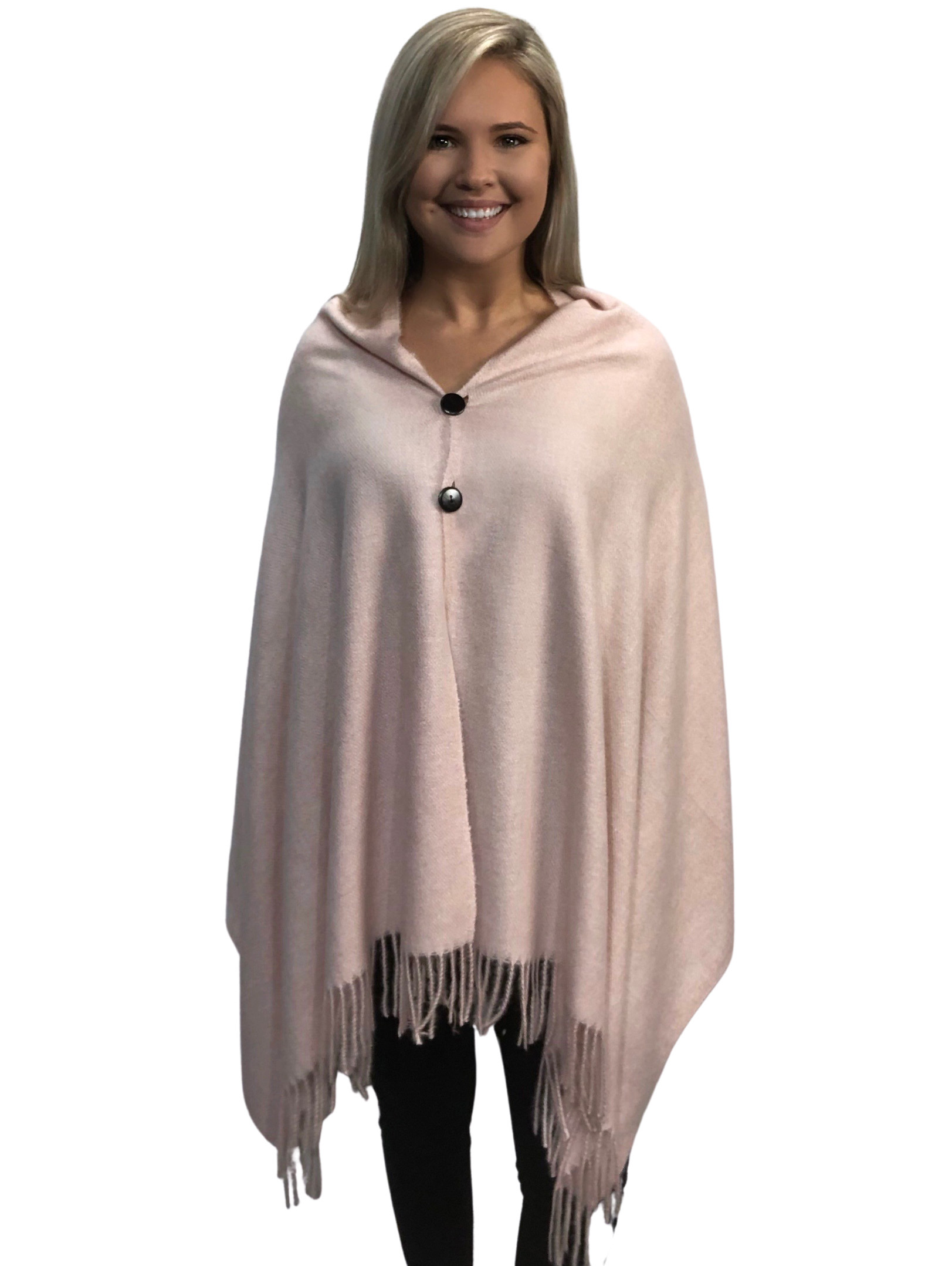 Brushed Cashmere Feel Shawls with Buttons BCFB