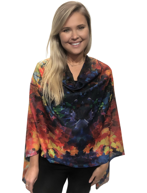 wholesale COTTON TOUCH Art Design Shawls w/ Buttons