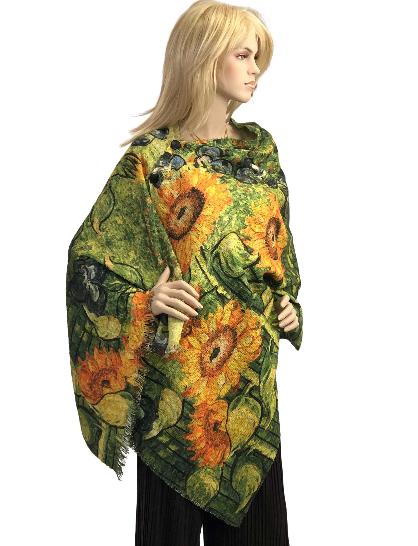 wholesale Button Poncho/Shawl - Nubby Art Design 3235