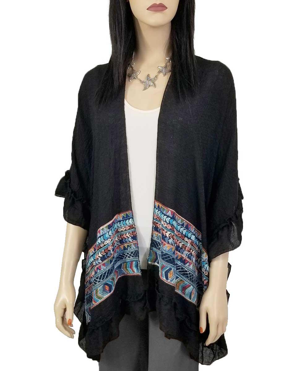 Ruffled Embroidered Kimono - Cotton Feel 1353