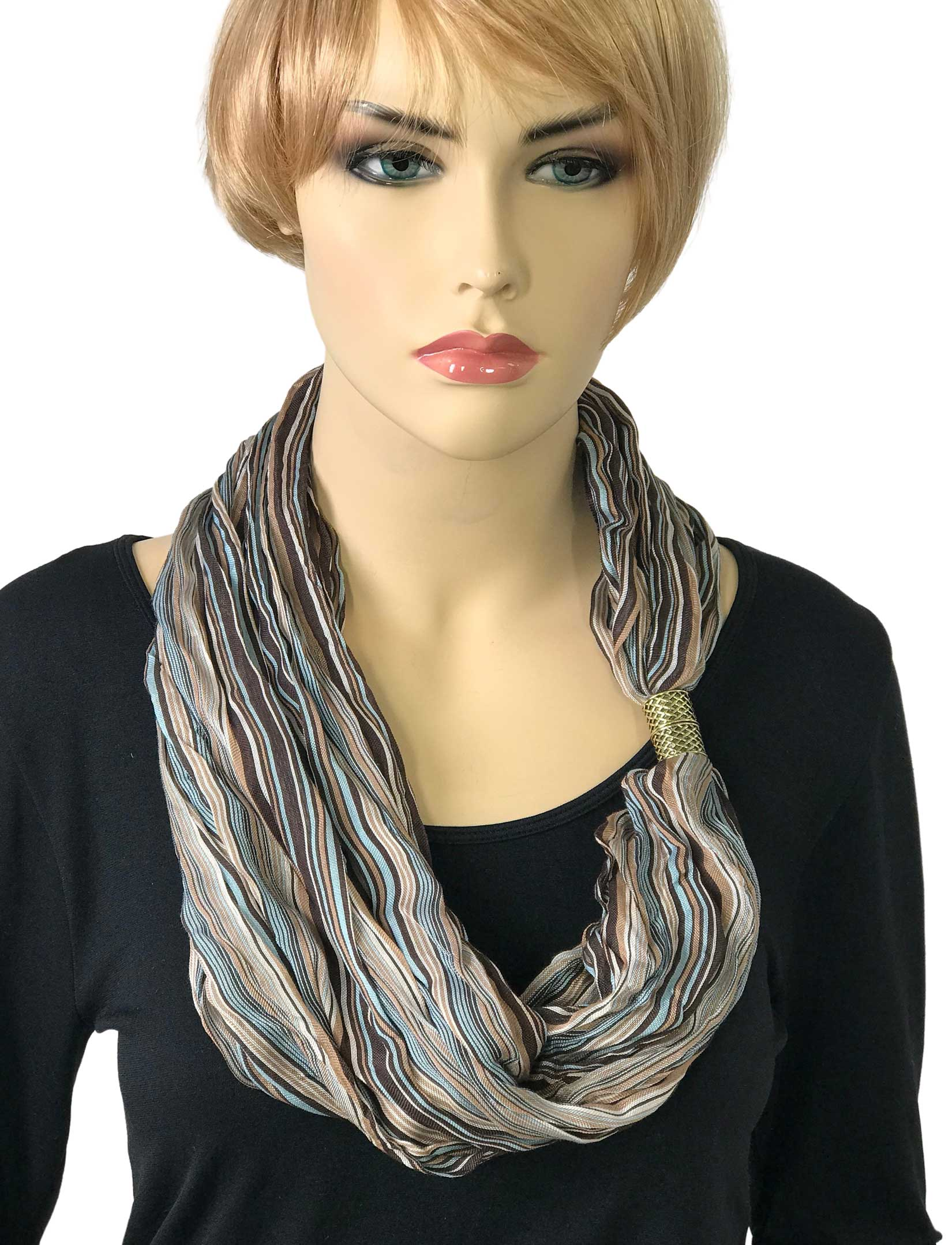 Magnetic Clasp Scarves (Crinkled Stripes 1009)