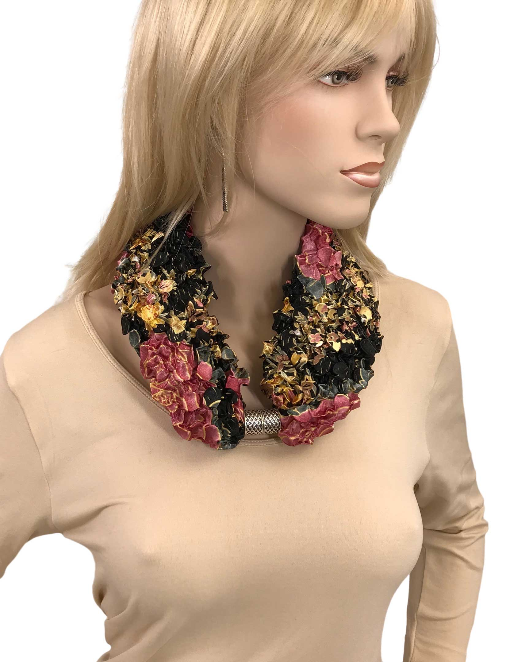 wholesale Magnetic Clasp Scarves - Coin + Bubble Satin