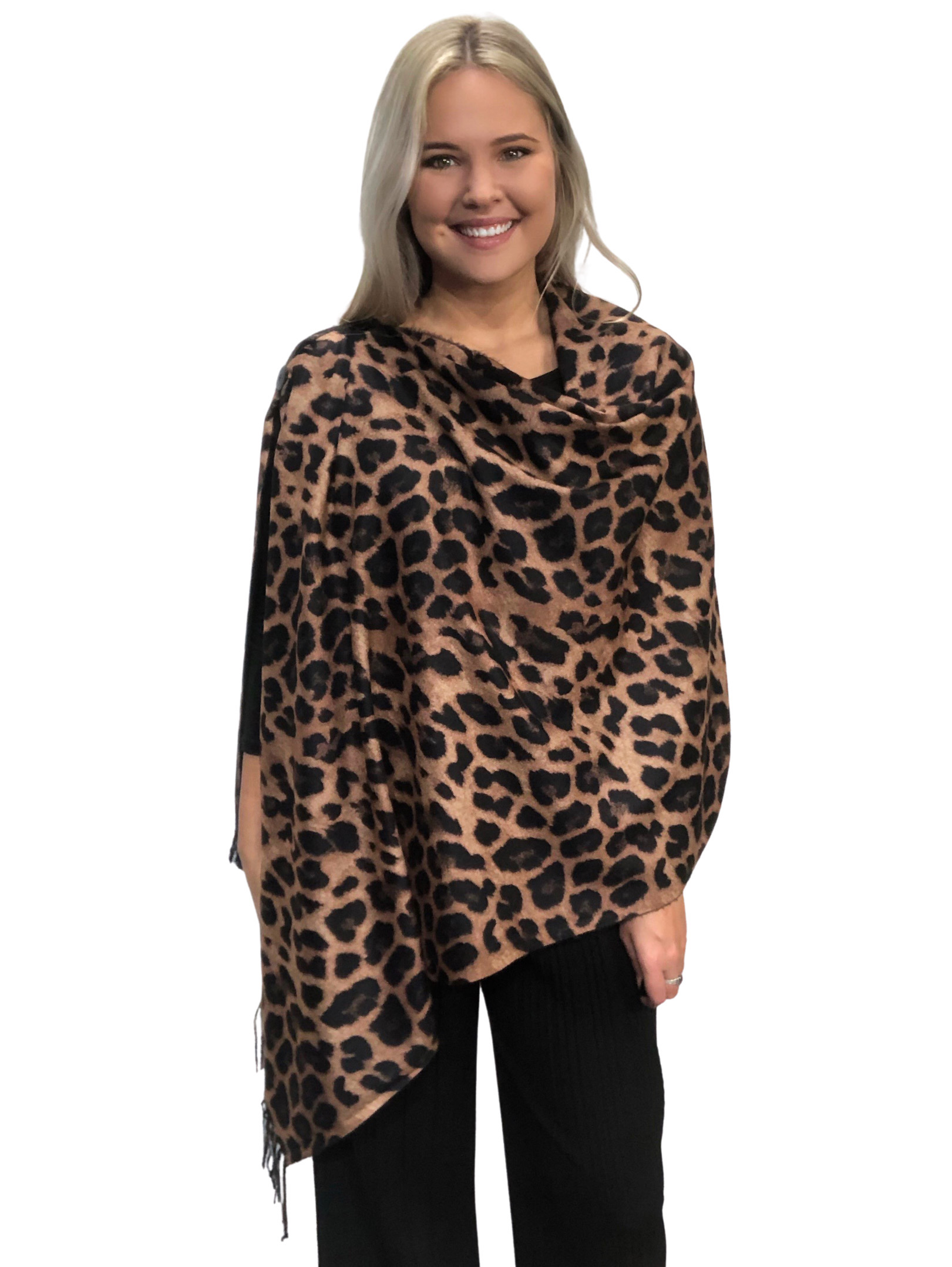 wholesale SUEDE CLOTH Animal Print Shawls with Buttons