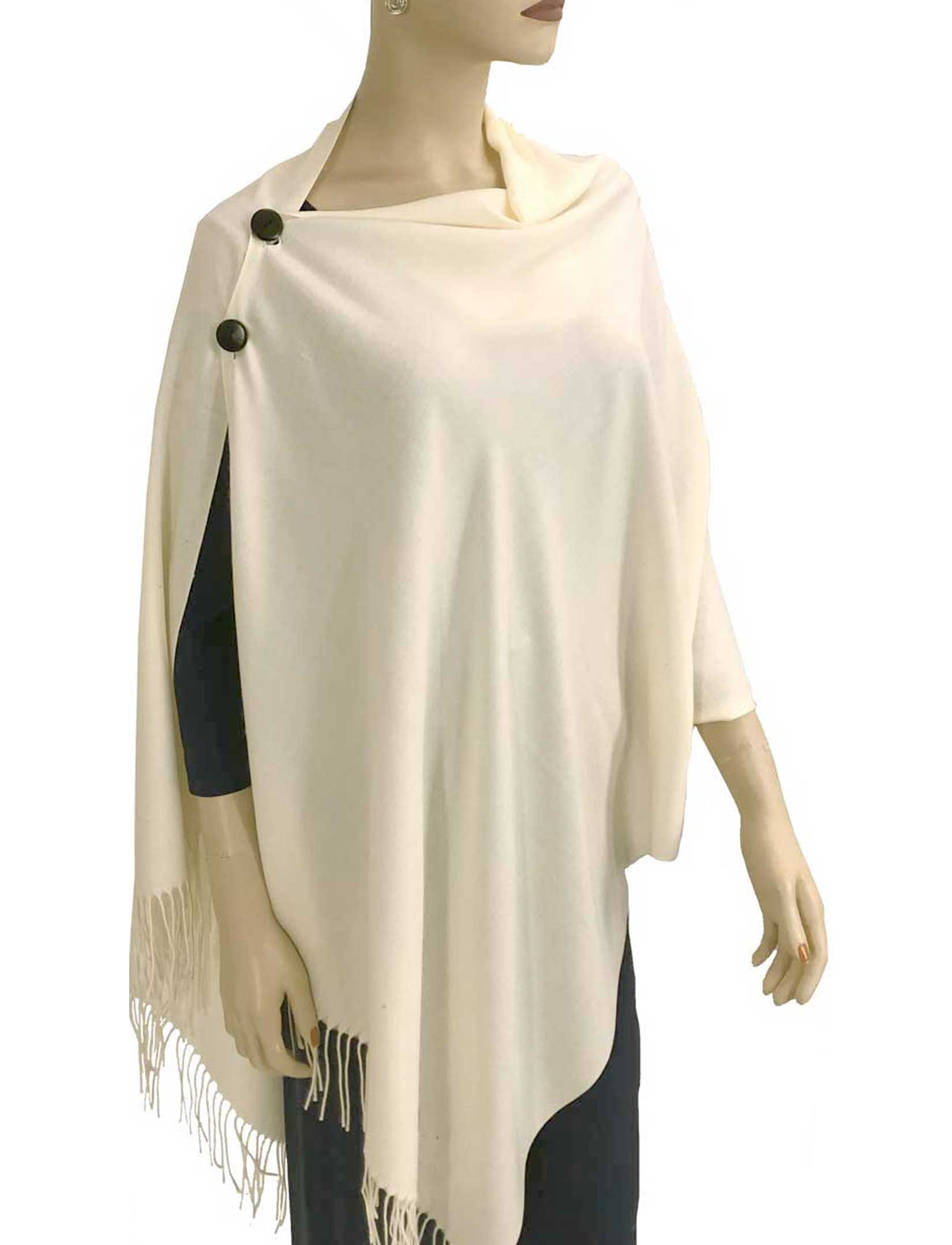 wholesale Cashmere Feel Button Shawls (Wooden  Buttons)