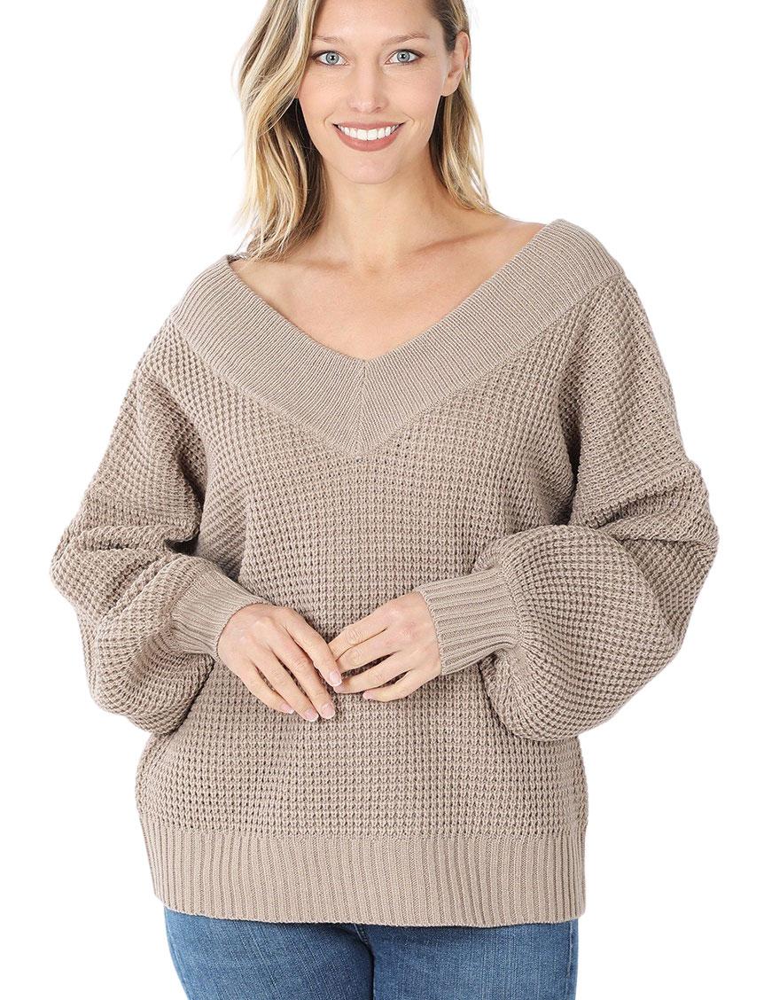 wholesale Sweater - Waffle Weave Double V-Neck 3418