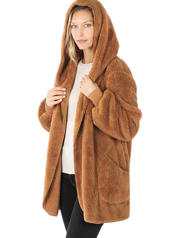 wholesale Jacket - Hooded Faux Fur with Pockets 2615