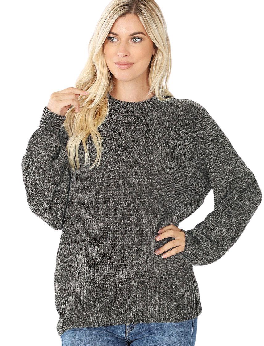 wholesale Sweater - Round Neck Balloon Sleeve Chenille 3419