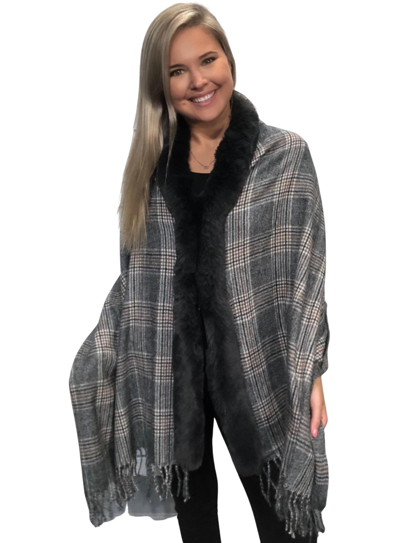 wholesale Cashmere Feel Shawls w/ Faux Rabbit Fur Trim LC1R