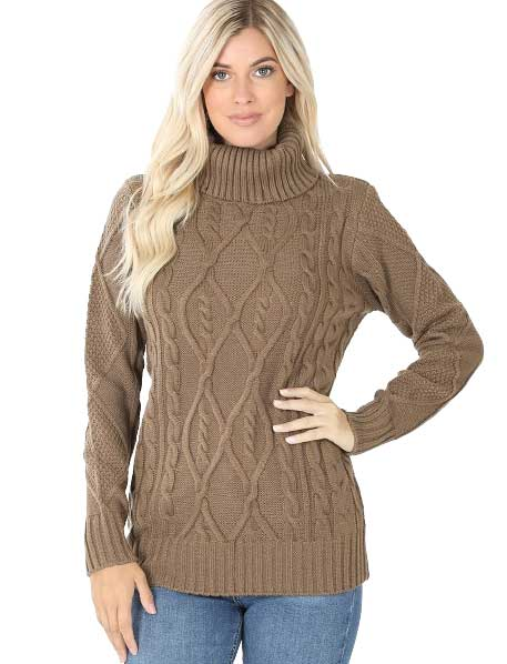wholesale Sweater - Turtleneck Cable Knit 21043