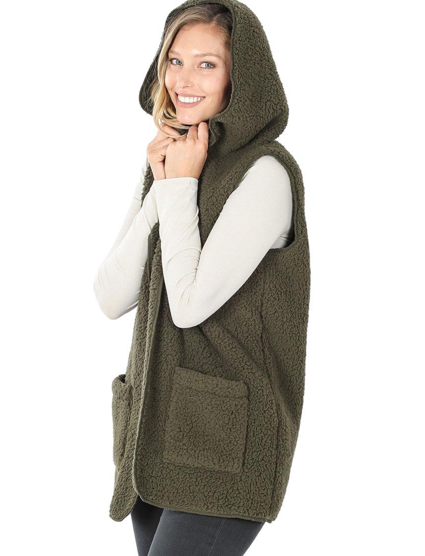 wholesale Vest - Sherpa Hooded Vest 75021