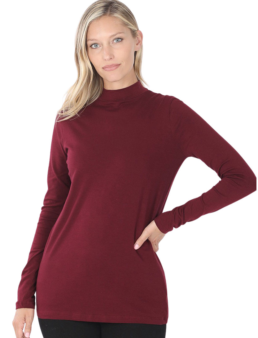 wholesale Mock Turtleneck - Cotton Long Sleeve 1059