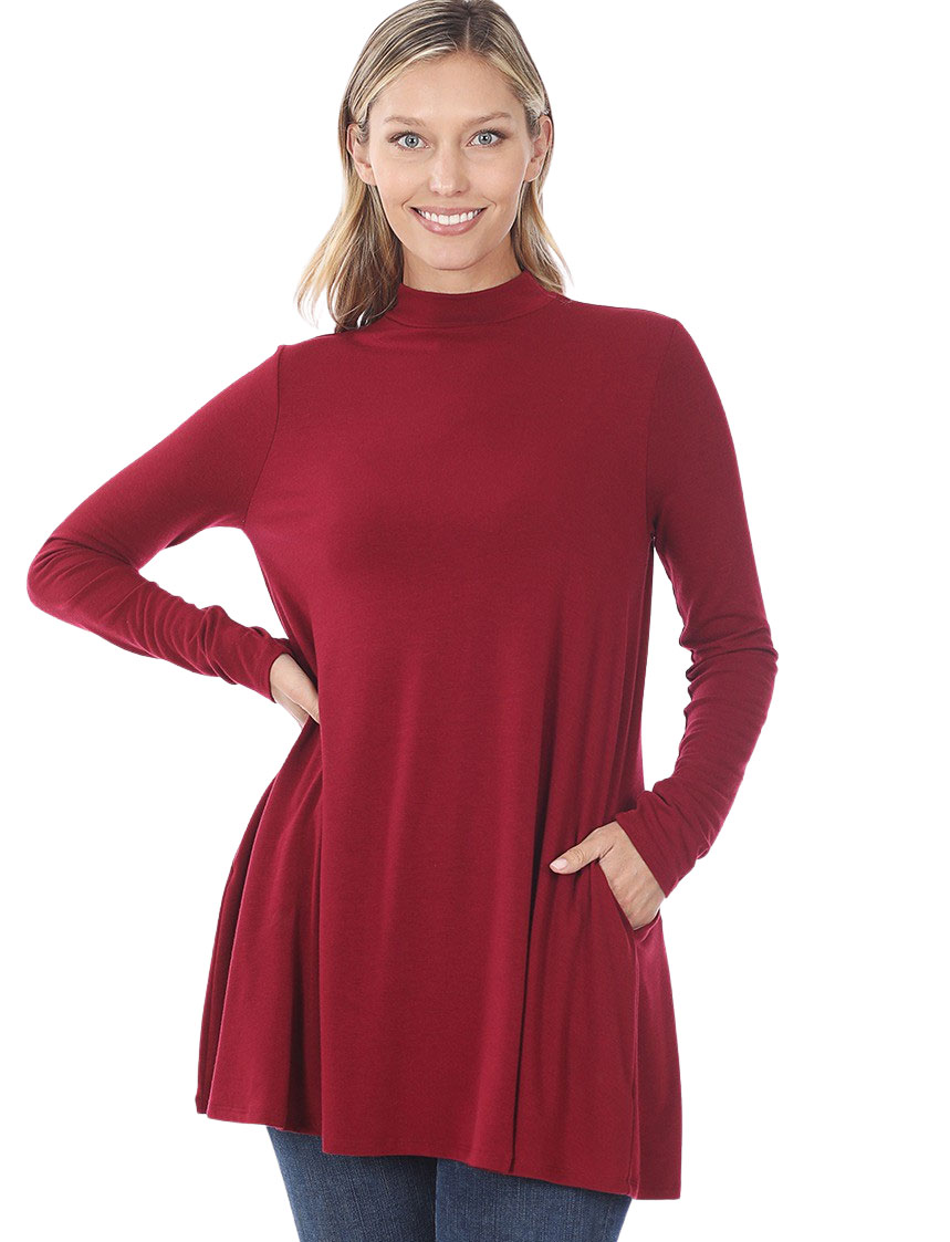 wholesale Mock Turtleneck - Long Sleeve with Pockets 1641