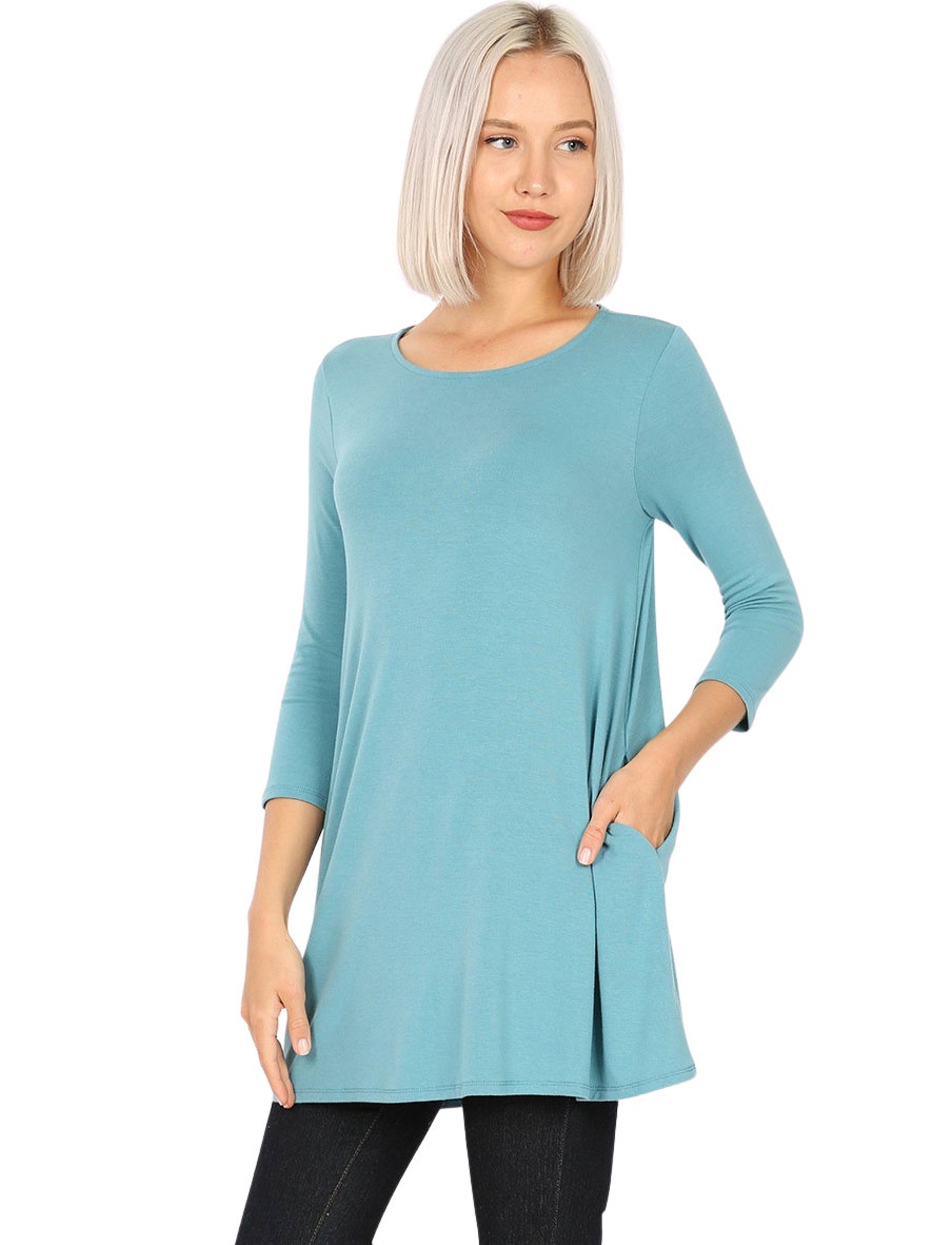 wholesale Boat Neck 3/4 Sleeve Flared Top w/ Pockets 1632