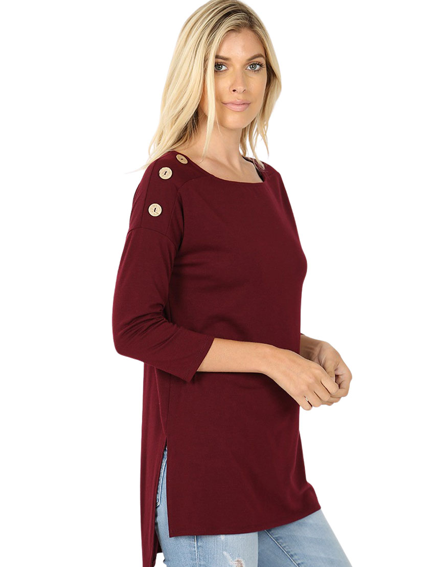 wholesale Boat Neck Hi-Lo Top w/ Wooden Buttons 2082
