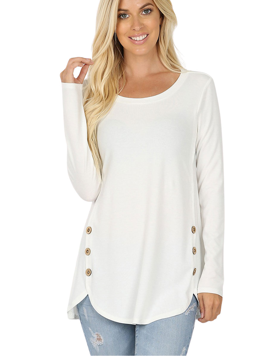 wholesale Plus Size Long Sleeve Top w/Side Buttons 2033