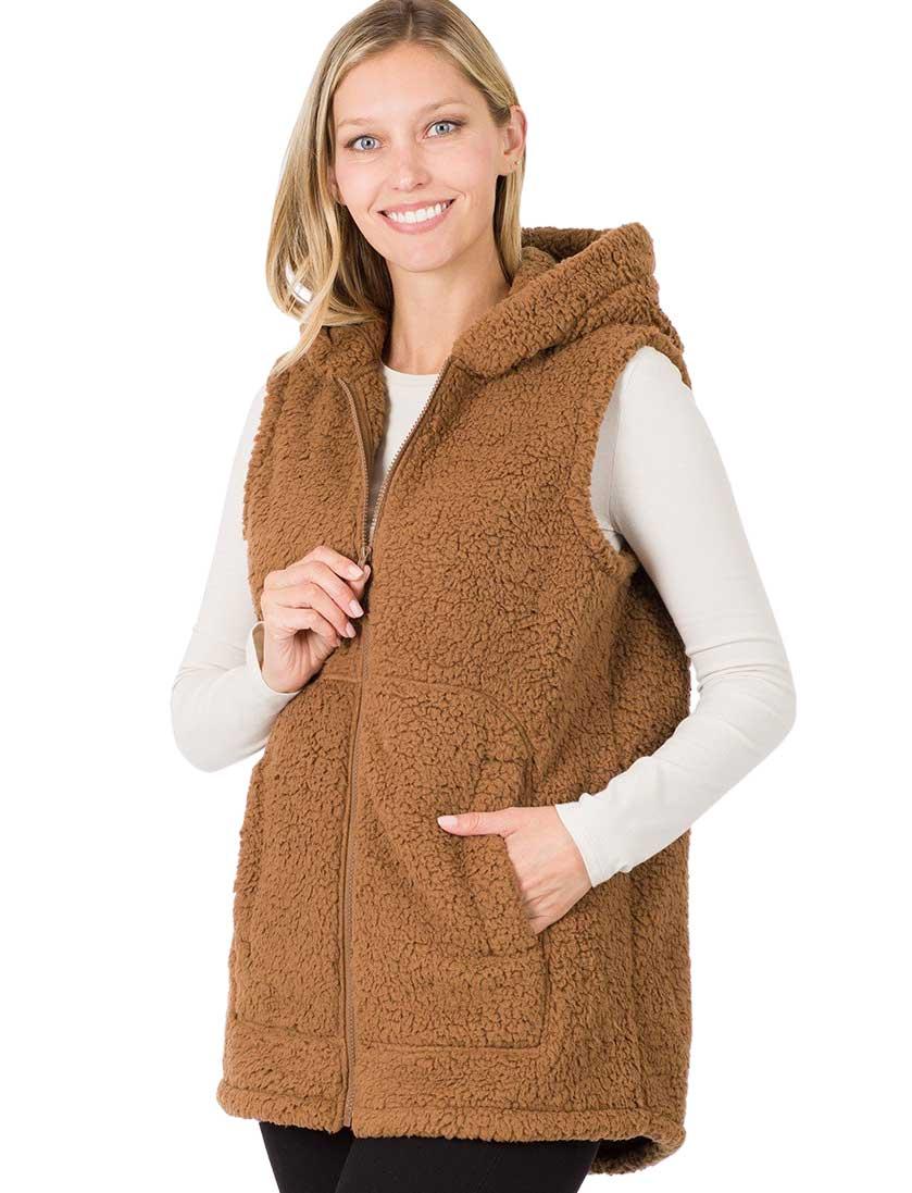 wholesale Vest - Sherpa Hi-Low Hooded Vest with Pockets 2865