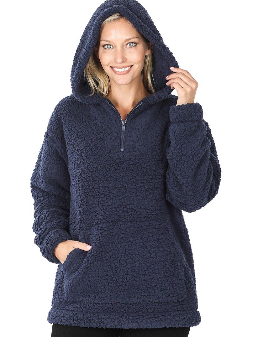 wholesale Hoodie - Sherpa Half Zip with Kangaroo Pocket 2845