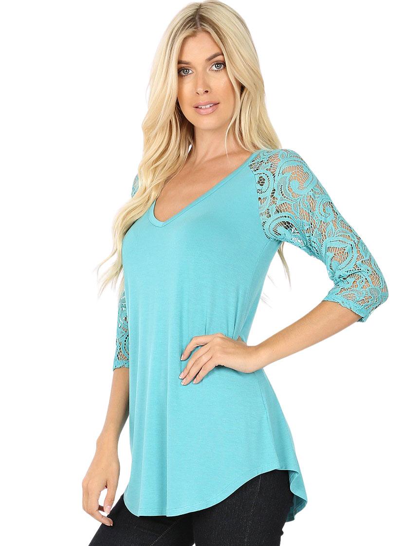 wholesale Tops - Lace Sleeve V-neck Dolphin Hem 5579
