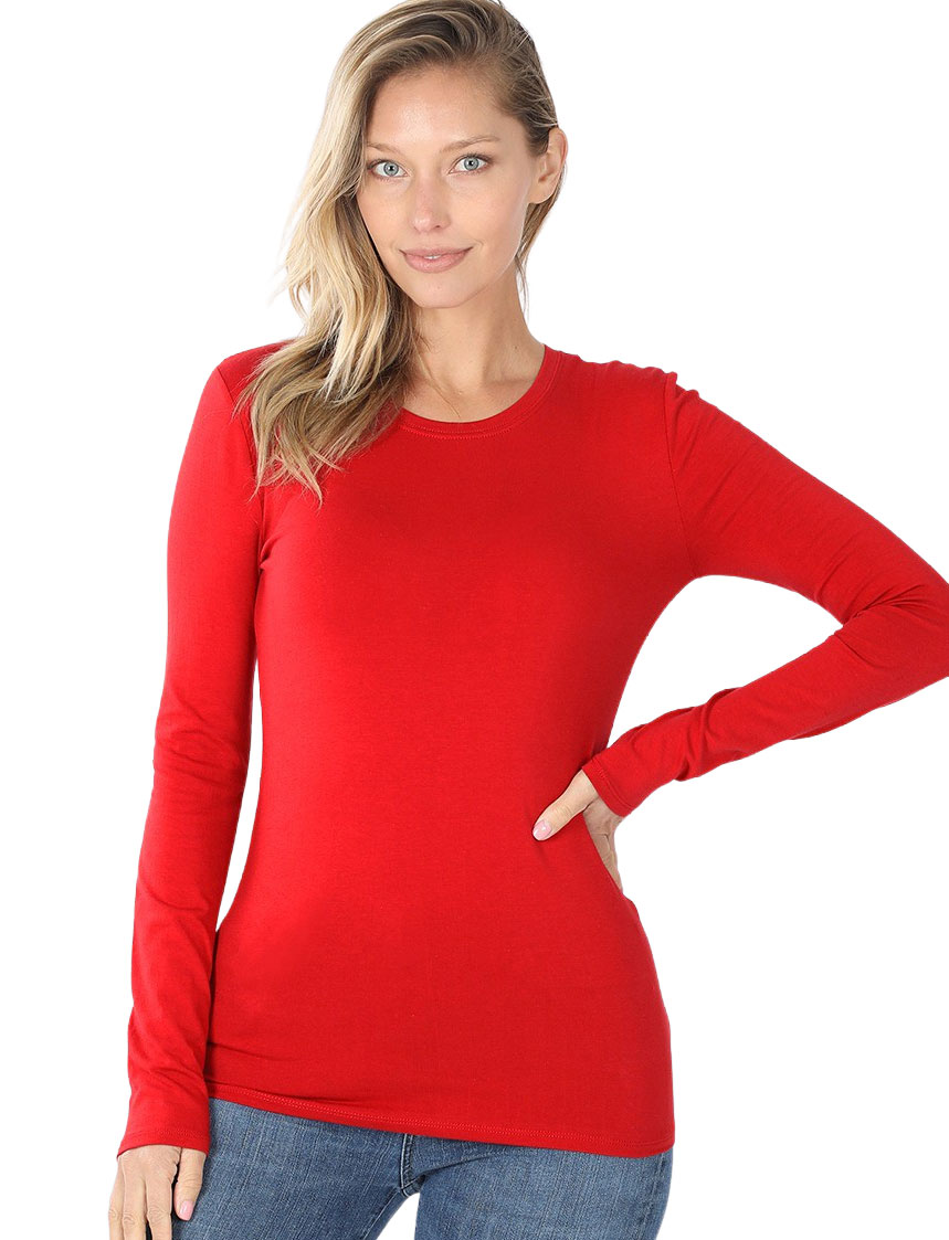 wholesale Tops - Cotton Long Sleeve Round Neck 3320