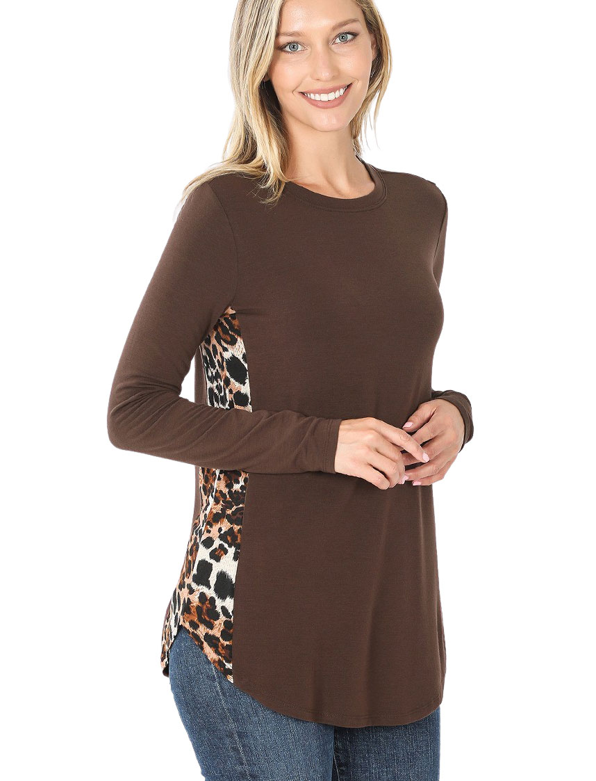 wholesale Tops - Leopard Print Side Panel Long Sleeve 43023