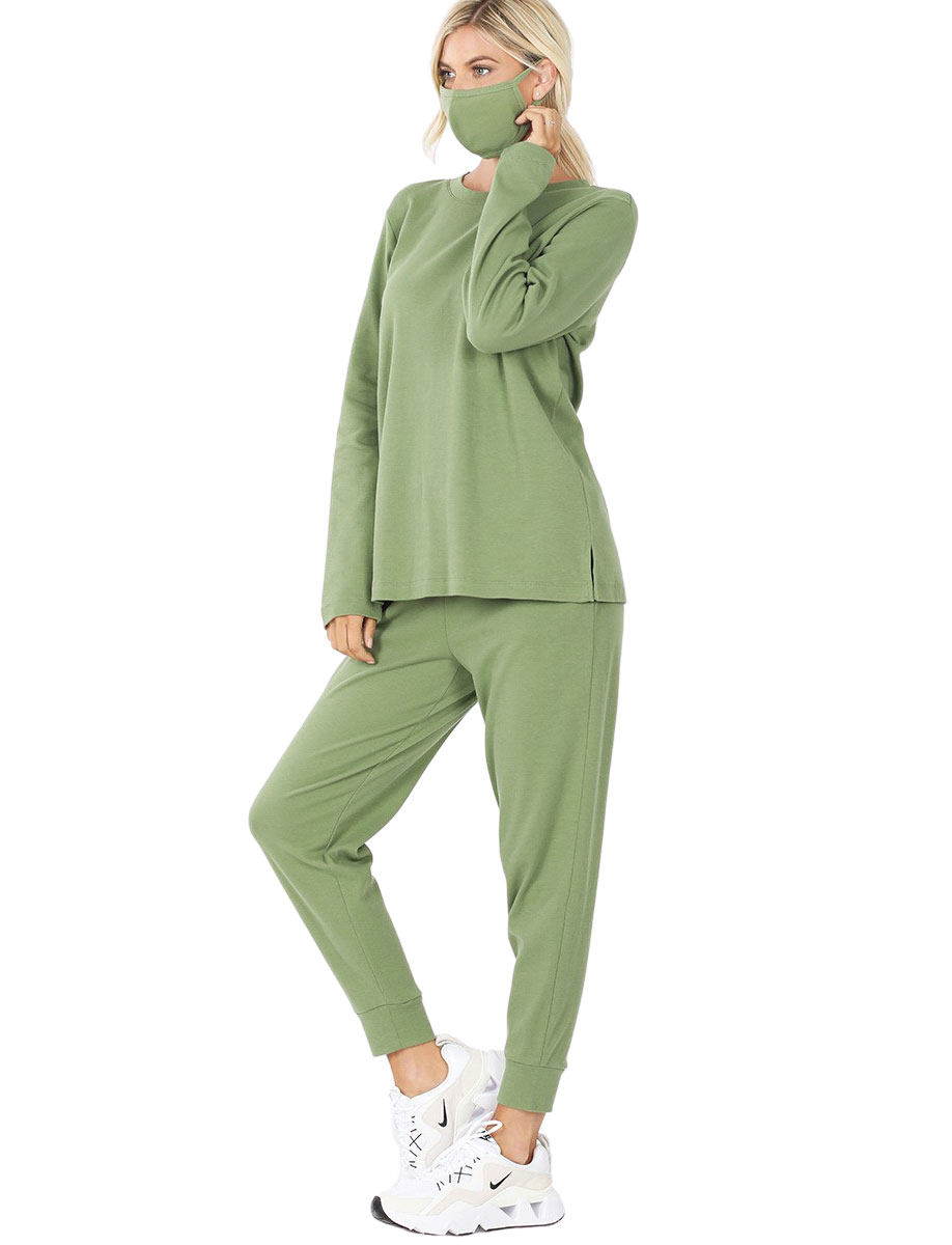 wholesale Tops -3PC SET-Cotton Top & Jogger with  Mask 32015