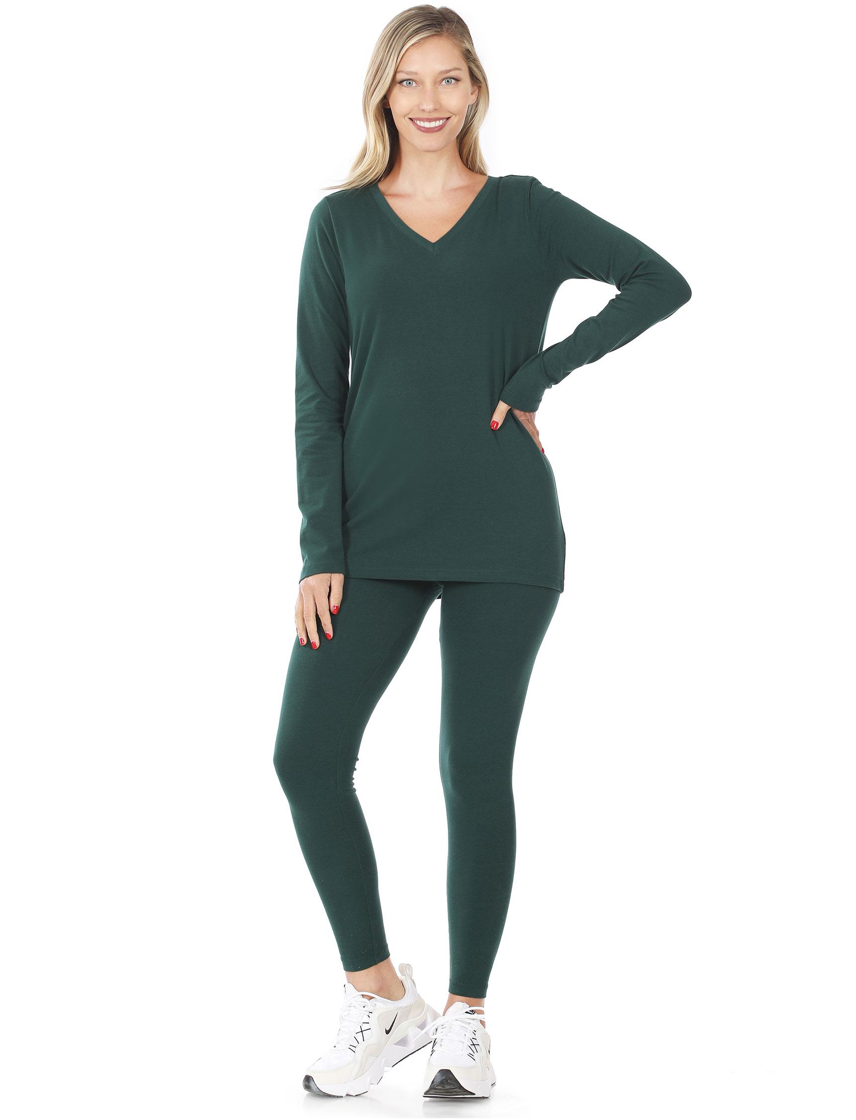 wholesale Set -Cotton V-Neck Top & Leggings 13011