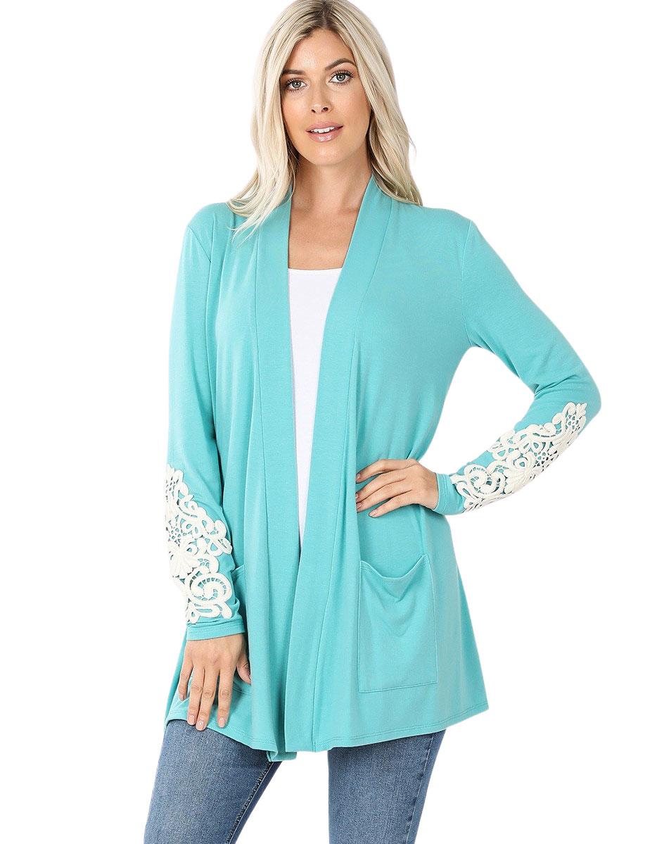 wholesale Cardigan Set - Lace Patch Slouchy Pocket 1446
