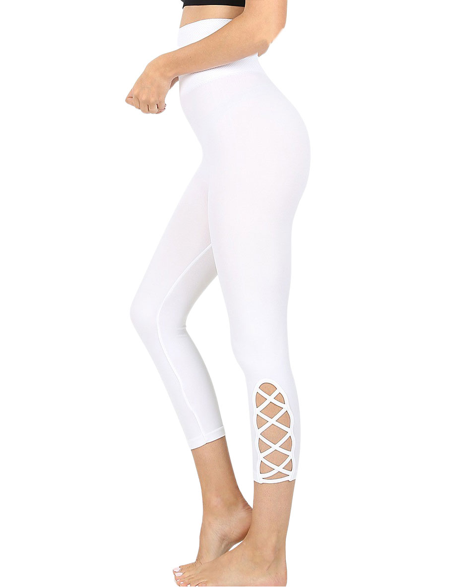 wholesale Leggings - White Lattice-Hem High Waist Capri 5658