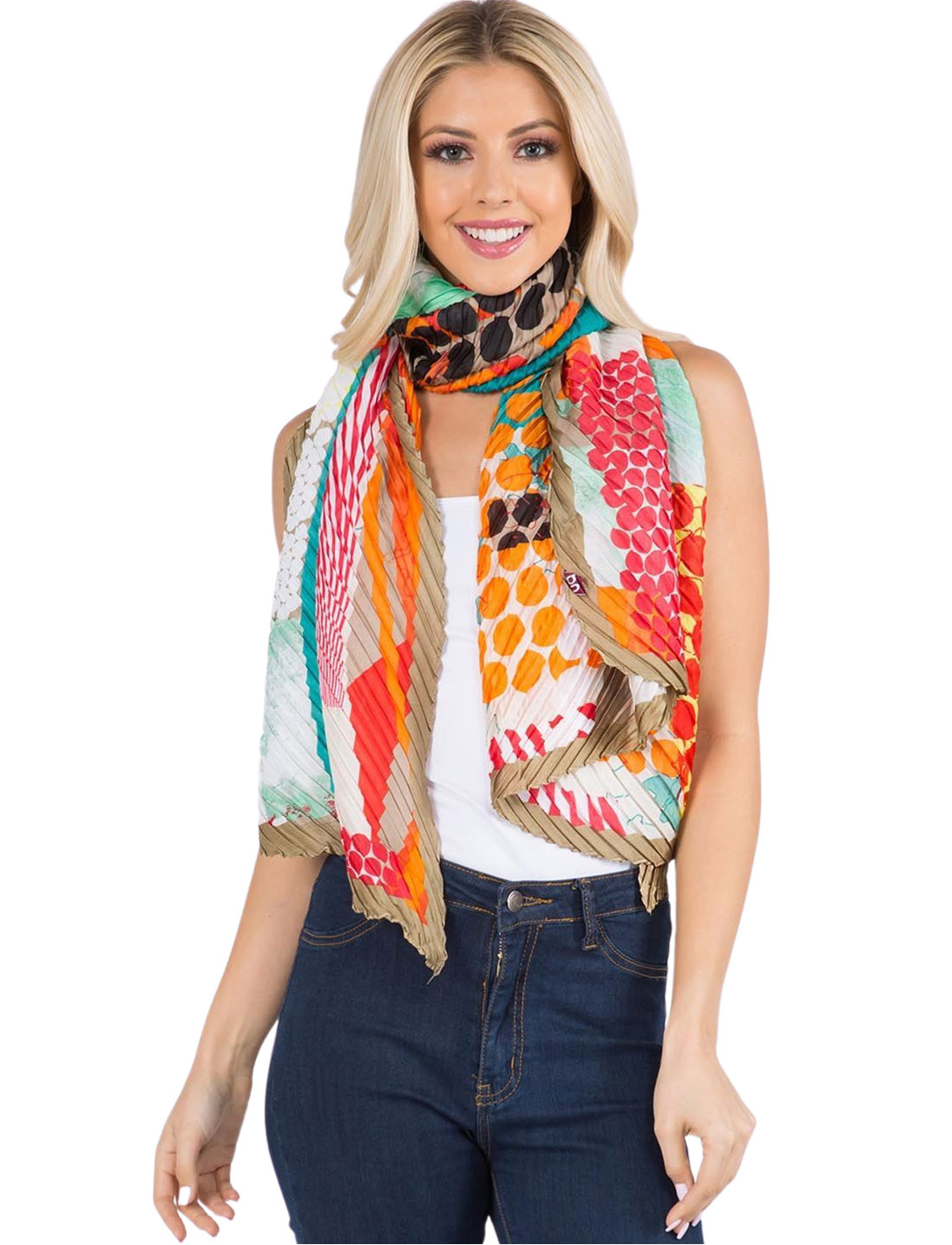 wholesale Scarf - Pleated Bright Abstract 1C60