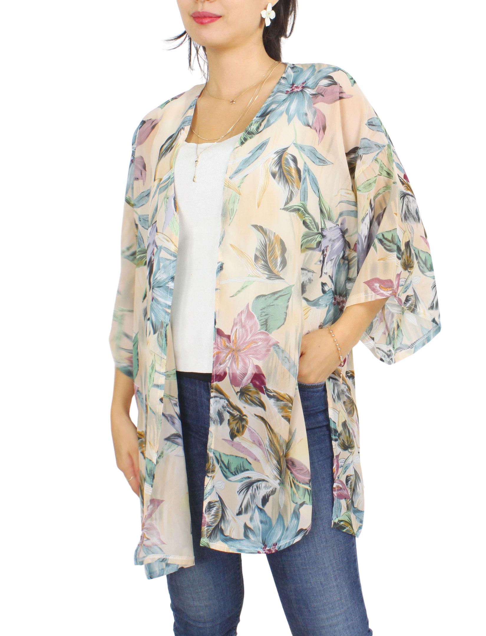 Kimono - Floral and Leaf Print 9948