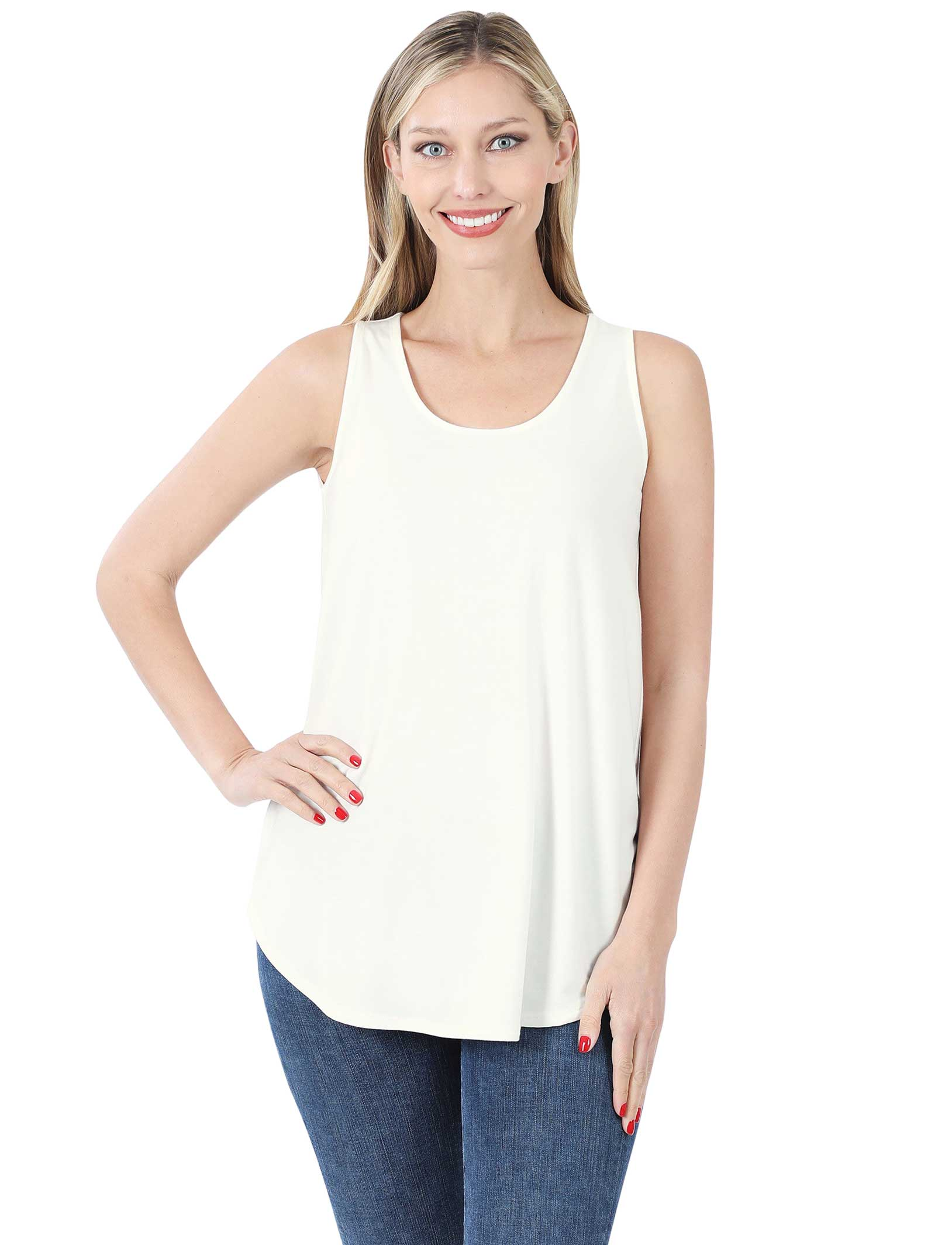 wholesale Tops - Sleeveless Round Hem Solids 2100