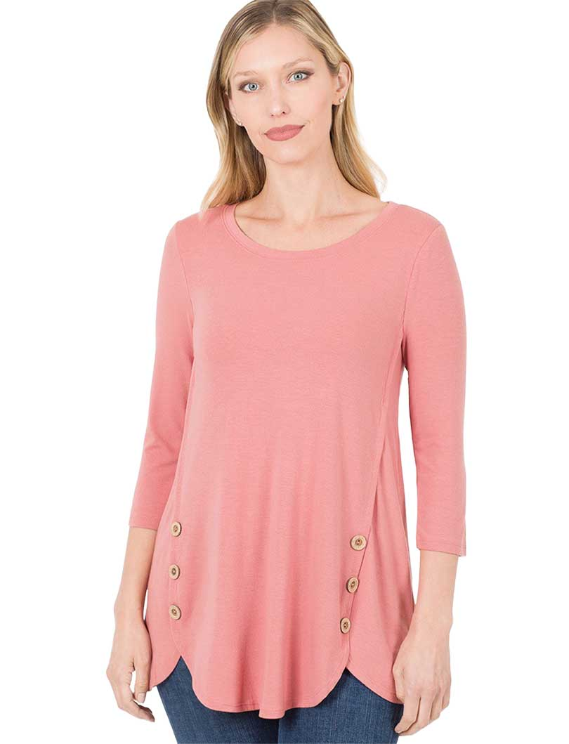 wholesale 3/4 Sleeve Side Wood Buttons Top 2032