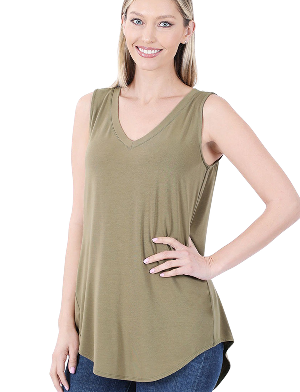 wholesale Sleeveless V-Neck Hi-Low Hem Top 5540