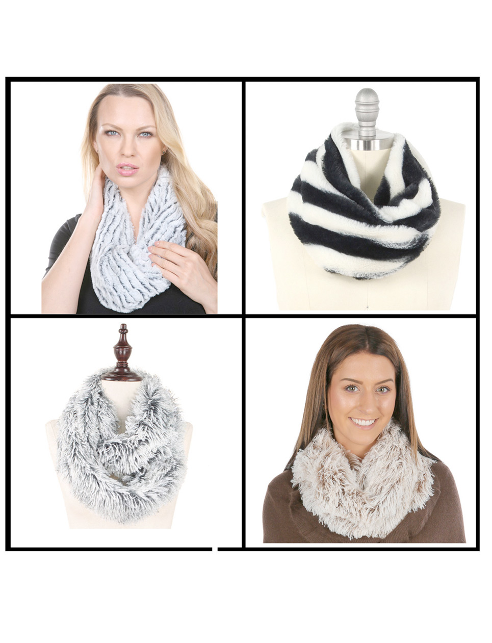 wholesale Fall/Winter Infinity Scarves - Faux Fur 3529