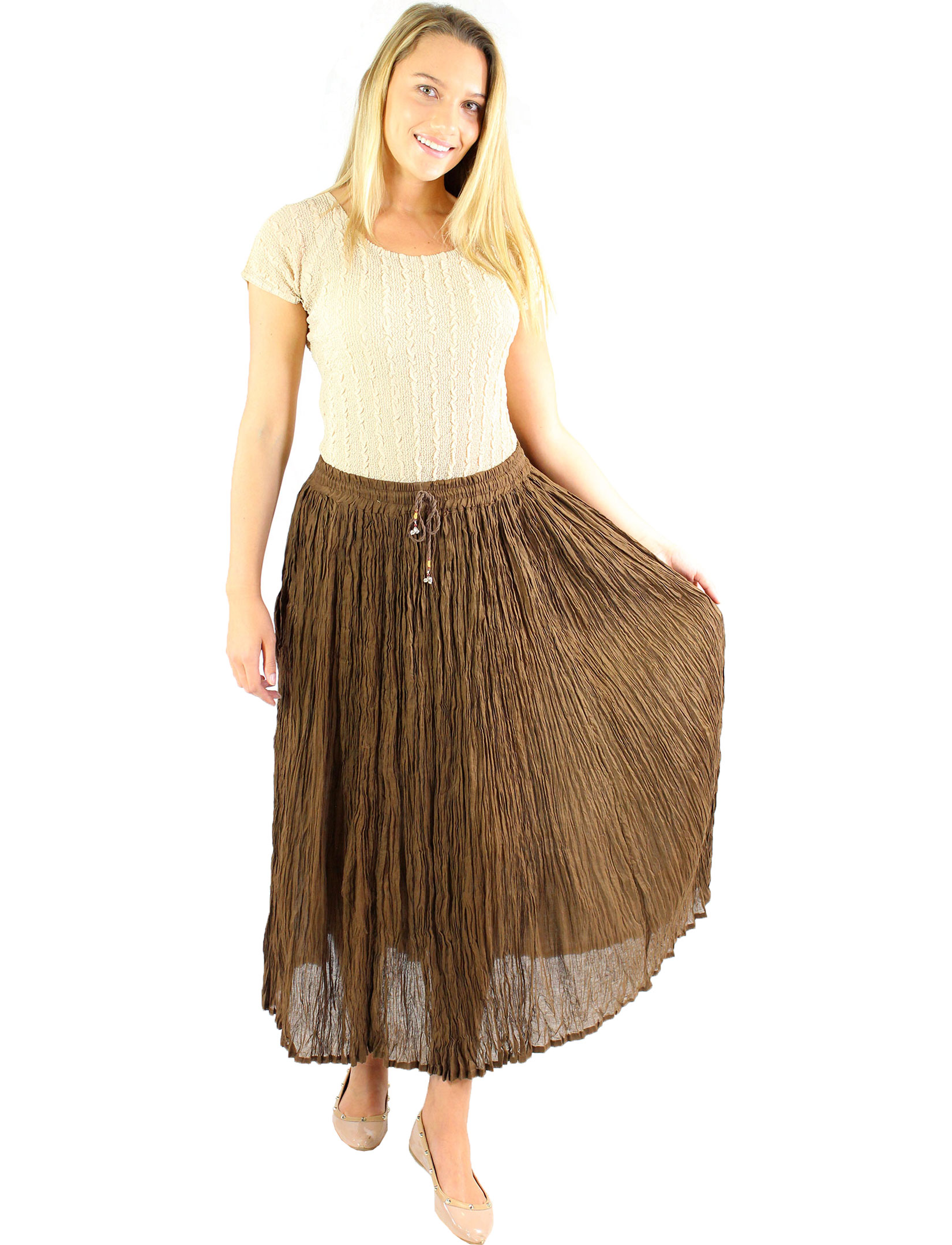 wholesale Skirts - Long Cotton Broomstick with Pocket 503