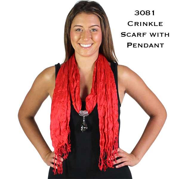 Oblong Scarves - Crinkle 3081 w/ Pendant*