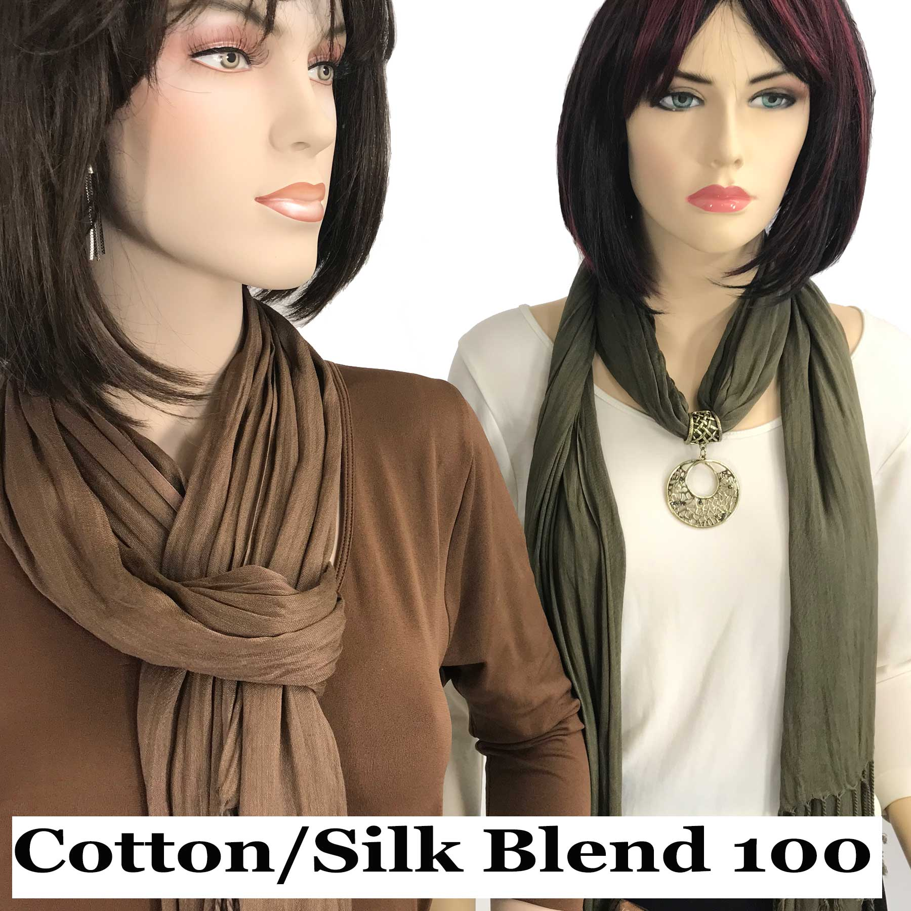 Oblong Scarves - Cotton/Silk Blend 100