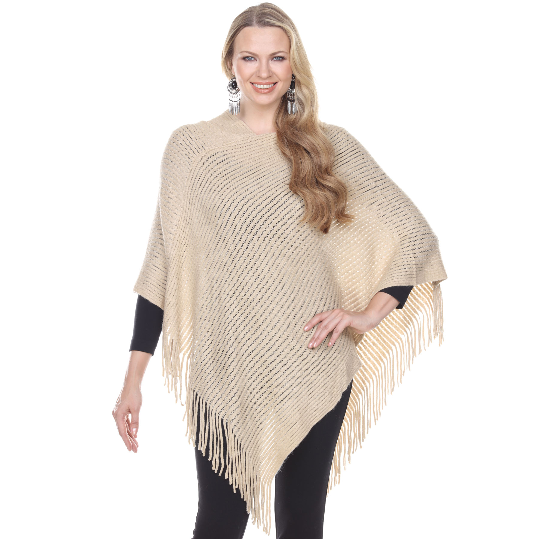 C Poncho - Cashmere Feel - Knit Ribbed 4105*