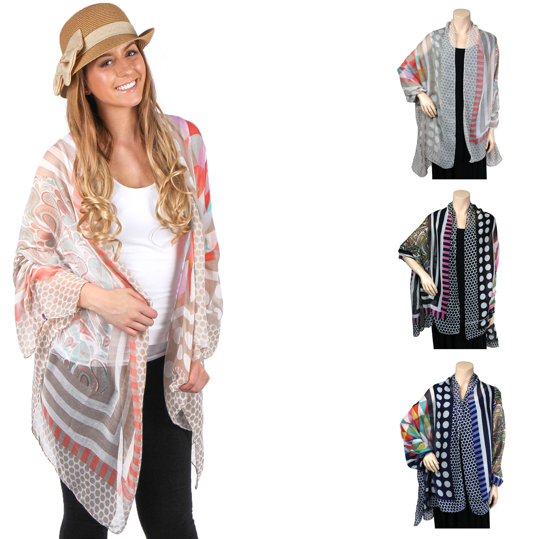 Big Scarves/Shawls - Multi Dots 039