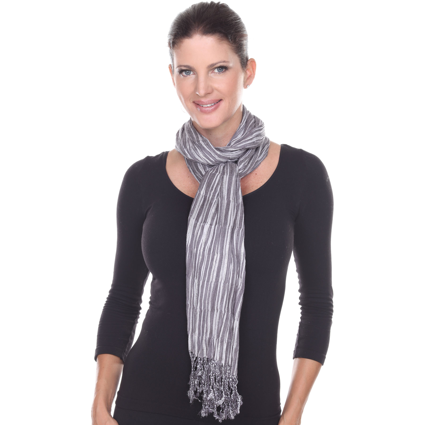 Oblong Scarves - Metallic Pleated Stripes 1003*
